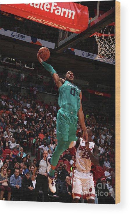 Nba Pro Basketball Wood Print featuring the photograph Charlotte Hornets V Miami Heat by Issac Baldizon