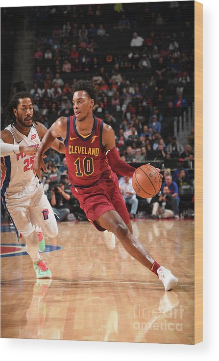 Nba Pro Basketball Wood Print featuring the photograph Cleveland Cavaliers V Detroit Pistons by Chris Schwegler