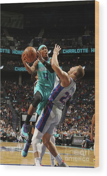 Nba Pro Basketball Wood Print featuring the photograph Detroit Pistons V Charlotte Hornets by Brock Williams-smith