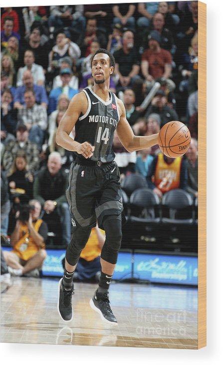 Nba Pro Basketball Wood Print featuring the photograph Detroit Pistons V Utah Jazz by Melissa Majchrzak