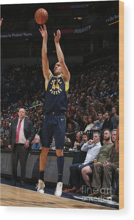 Nba Pro Basketball Wood Print featuring the photograph Indiana Pacers V Minnesota Timberwolves by David Sherman