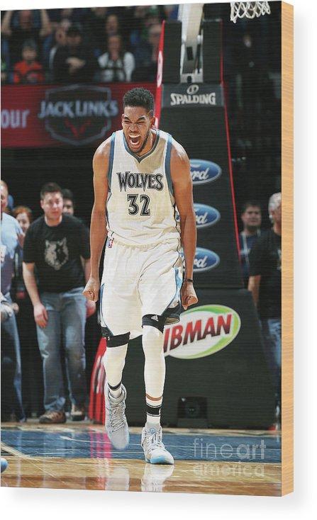 Nba Pro Basketball Wood Print featuring the photograph Milwaukee Bucks V Minnesota Timberwolves by David Sherman