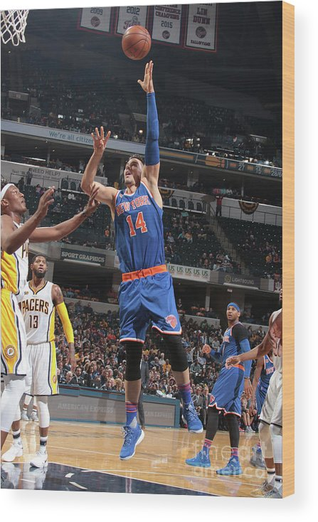 Guillermo Hernangómez Geuer Wood Print featuring the photograph New York Knicks V Indiana Pacers by Ron Hoskins