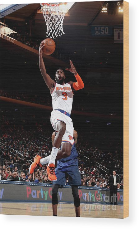 Tim Hardaway Jr. Wood Print featuring the photograph Orlando Magic V New York Knicks by Nathaniel S. Butler