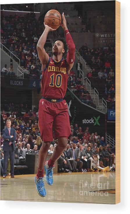 Nba Pro Basketball Wood Print featuring the photograph Philadelphia 76ers V Cleveland Cavaliers by David Liam Kyle