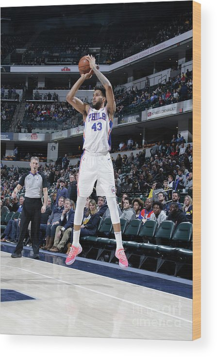 Nba Pro Basketball Wood Print featuring the photograph Philadelphia 76ers V Indiana Pacers by Ron Hoskins