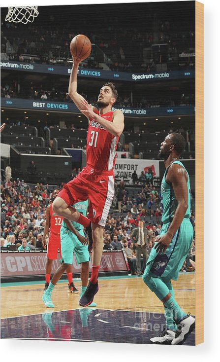 Nba Pro Basketball Wood Print featuring the photograph Washington Wizards V Charlotte Hornets by Kent Smith