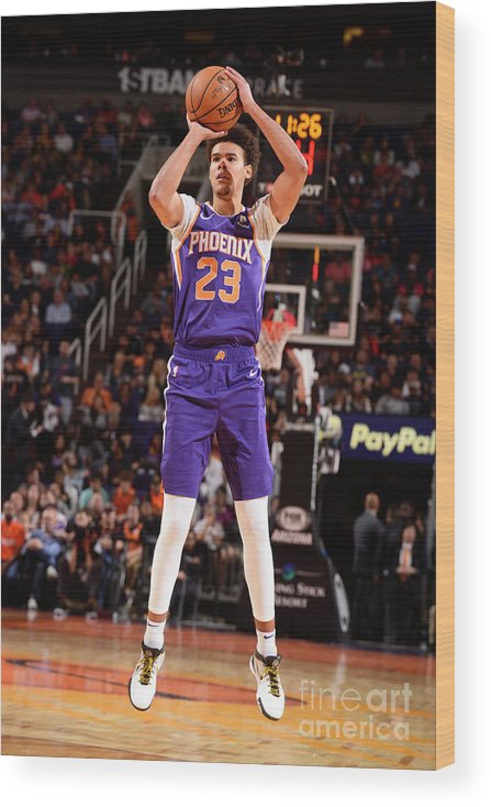 Nba Pro Basketball Wood Print featuring the photograph Brooklyn Nets V Phoenix Suns by Barry Gossage