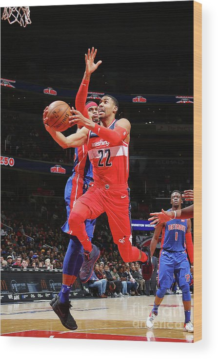 Nba Pro Basketball Wood Print featuring the photograph Detroit Pistons V Washington Wizards by Ned Dishman