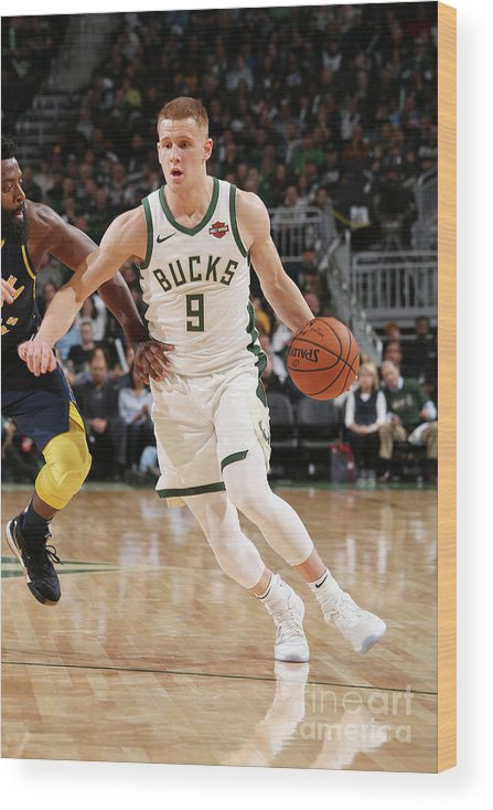 Nba Pro Basketball Wood Print featuring the photograph Indiana Pacers V Milwaukee Bucks by Gary Dineen