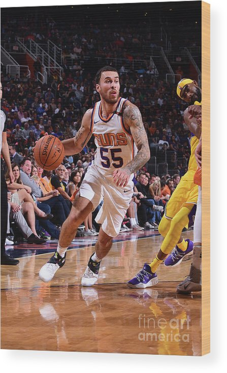 Nba Pro Basketball Wood Print featuring the photograph Los Angeles Lakers V Phoenix Suns by Michael Gonzales