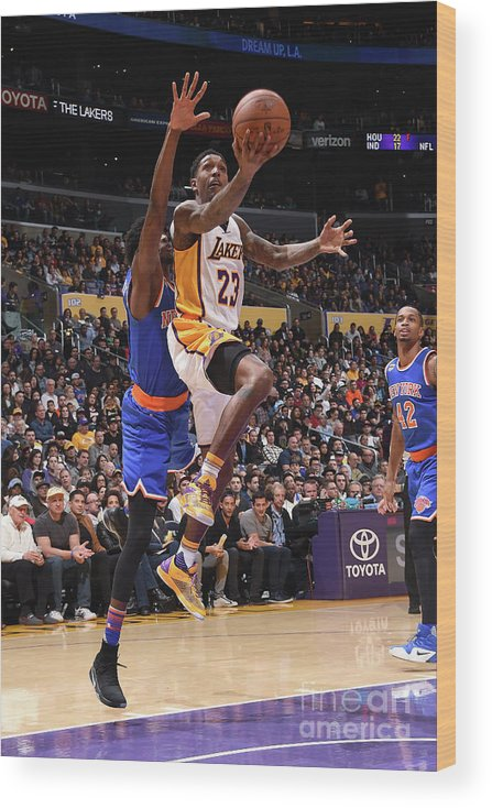 Nba Pro Basketball Wood Print featuring the photograph New York Knicks V Los Angeles Lakers by Andrew D. Bernstein