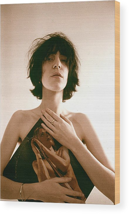 Event Wood Print featuring the photograph Patti Smith Portrait Session by Michael Ochs Archives