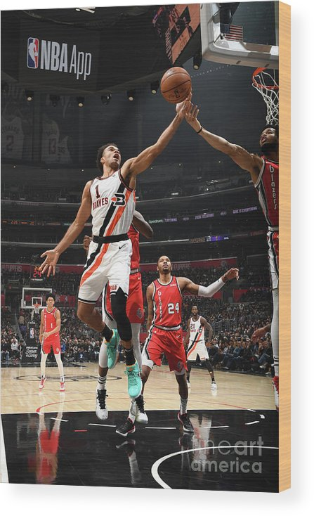 Jerome Robinson Wood Print featuring the photograph Portland Trail Blazers V La Clippers by Andrew D. Bernstein