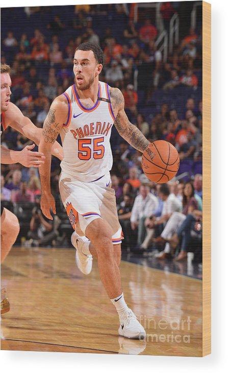Nba Pro Basketball Wood Print featuring the photograph Portland Trail Blazers V Phoenix Suns by Barry Gossage
