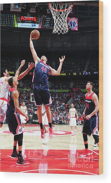 Atlanta Wood Print featuring the photograph Washington Wizards V Atlanta Hawks - by Scott Cunningham