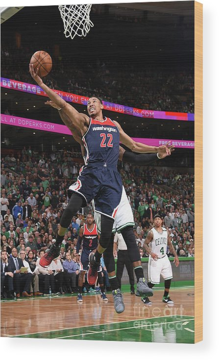 Playoffs Wood Print featuring the photograph Washington Wizards V Boston Celtics - by Brian Babineau