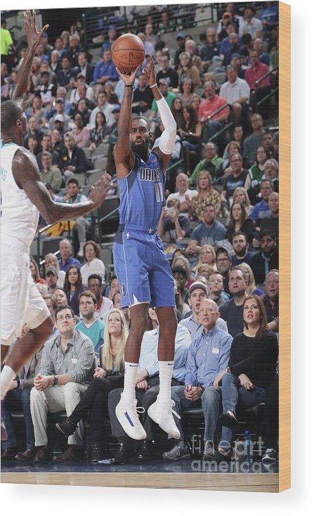 Tim Hardaway Jr. Wood Print featuring the photograph Charlotte Hornets V Dallas Mavericks by Glenn James