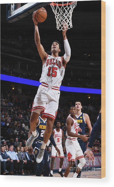 Nba Pro Basketball Wood Print featuring the photograph Chicago Bulls V Denver Nuggets by Garrett Ellwood