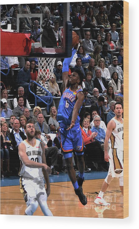 Nba Pro Basketball Wood Print featuring the photograph New Orleans Pelicans V Oklahoma City by Bill Baptist