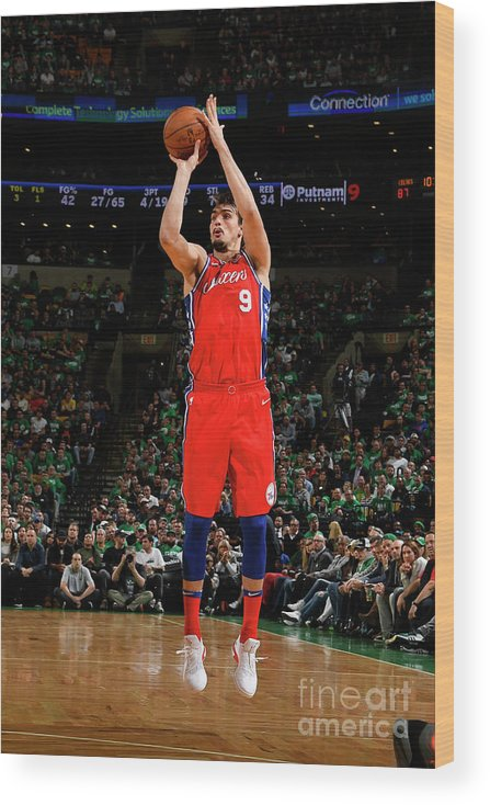 Playoffs Wood Print featuring the photograph Philadelphia 76ers V Boston Celtics - by Brian Babineau