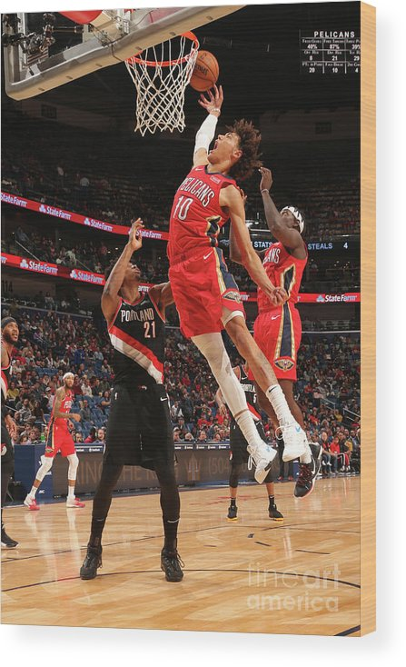 Smoothie King Center Wood Print featuring the photograph Portland Trail Blazers V New Orleans by Layne Murdoch Jr.