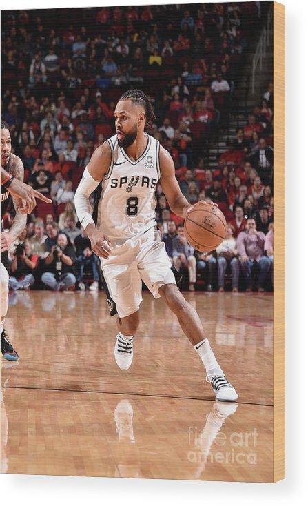 Nba Pro Basketball Wood Print featuring the photograph San Antonio Spurs V Houston Rockets by Bill Baptist