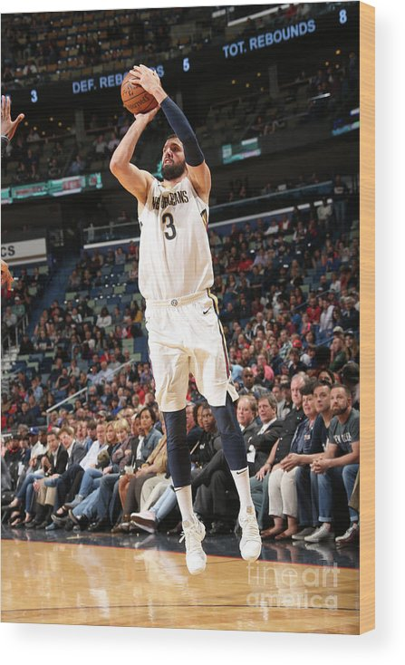Smoothie King Center Wood Print featuring the photograph Dallas Mavericks V New Orleans Pelicans by Layne Murdoch