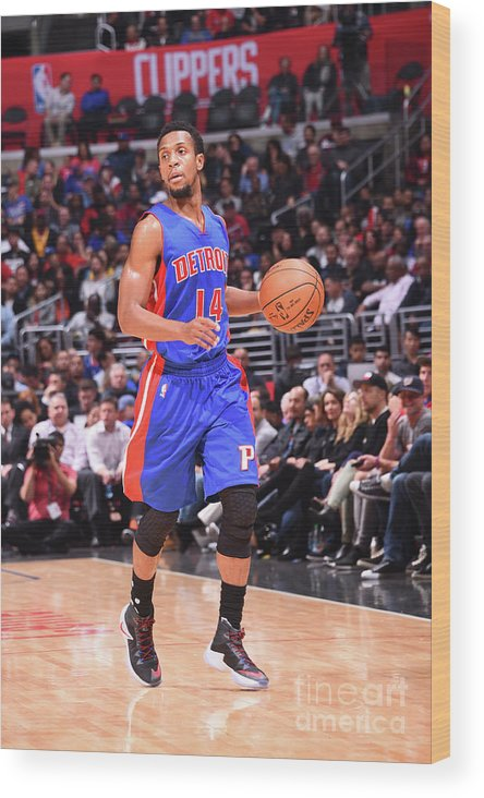 Nba Pro Basketball Wood Print featuring the photograph Detroit Pistons V La Clippers by Juan Ocampo