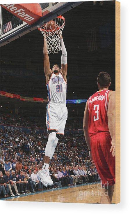 Nba Pro Basketball Wood Print featuring the photograph Houston Rockets V Oklahoma City Thunder by Layne Murdoch