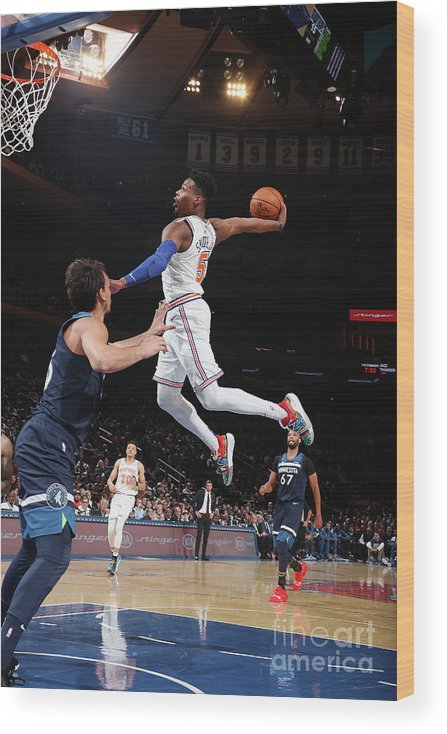 Nba Pro Basketball Wood Print featuring the photograph Minnesota Timberwolves V New York Knicks by Nathaniel S. Butler
