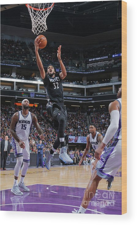 Nba Pro Basketball Wood Print featuring the photograph Minnesota Timberwolves V Sacramento by Rocky Widner