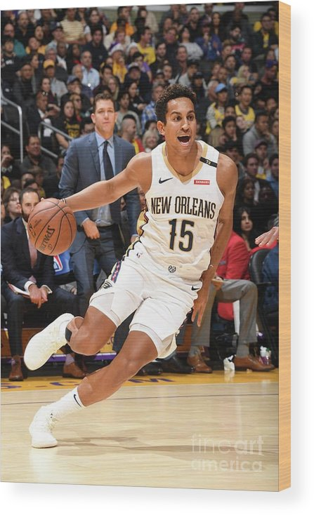 Nba Pro Basketball Wood Print featuring the photograph New Orleans Pelicans V Los Angeles by Andrew D. Bernstein