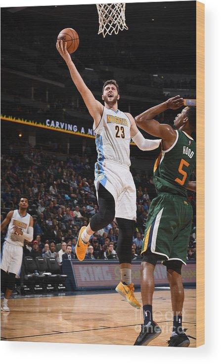 Jusuf Nurkić Wood Print featuring the photograph Utah Jazz V Denver Nuggets by Garrett Ellwood