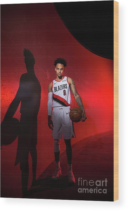 Media Day Wood Print featuring the photograph 2018-2019 Portland Trail Blazers Media by Sam Forencich