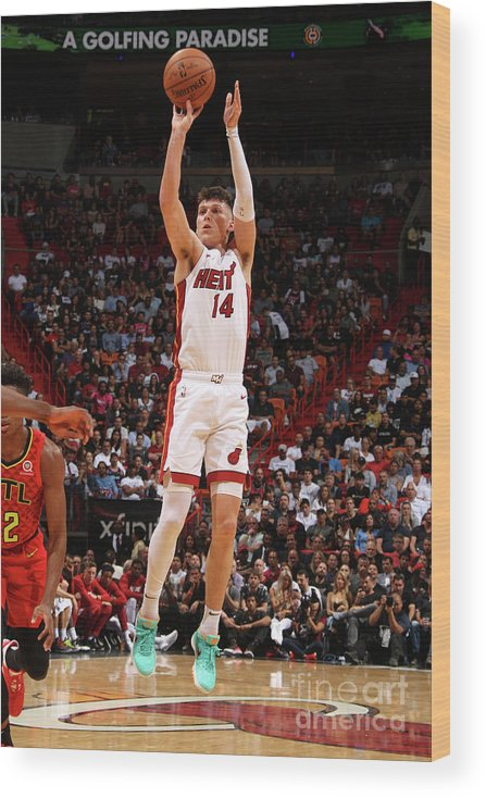 Tyler Herro Wood Print featuring the photograph Atlanta Hawks V Miami Heat by Oscar Baldizon
