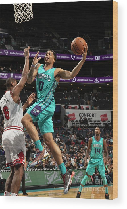Nba Pro Basketball Wood Print featuring the photograph Chicago Bulls V Charlotte Hornets by Kent Smith