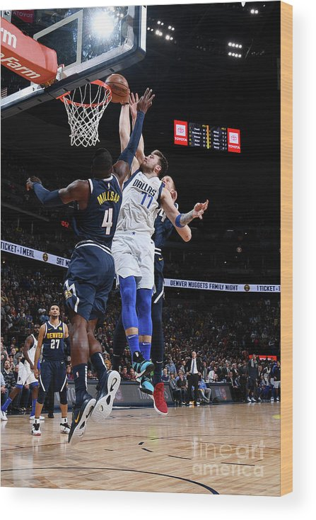 Nba Pro Basketball Wood Print featuring the photograph Dallas Mavericks V Denver Nuggets by Garrett Ellwood