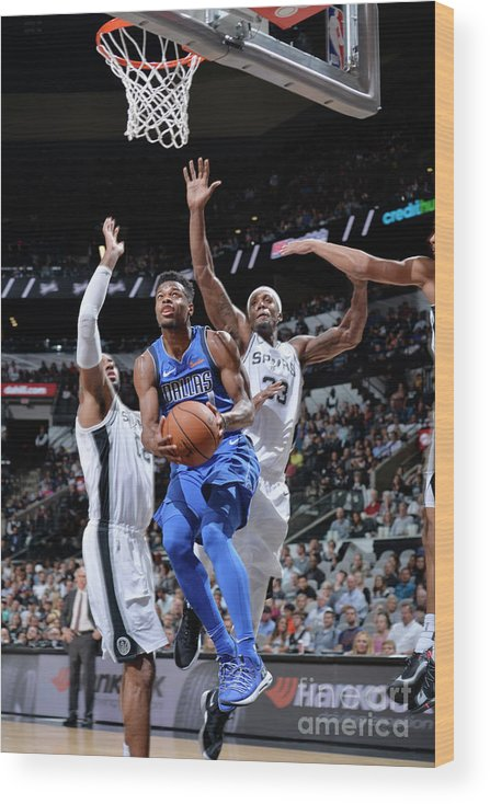 Nba Pro Basketball Wood Print featuring the photograph Dallas Mavericks V San Antonio Spurs by Mark Sobhani