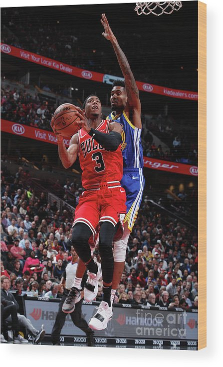 Nba Pro Basketball Wood Print featuring the photograph Golden State Warriors V Chicago Bulls by Jeff Haynes