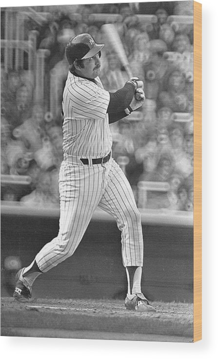 Thurman Munson Wood Print featuring the photograph New York Yankees by Ronald C. Modra/sports Imagery