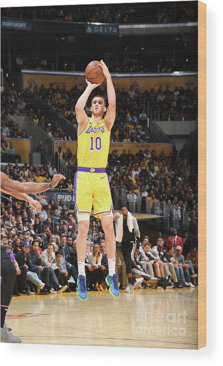 Nba Pro Basketball Wood Print featuring the photograph San Antonio Spurs V Los Angeles Lakers by Andrew D. Bernstein