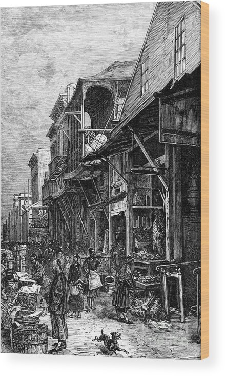 Engraving Wood Print featuring the drawing A Market Place In San Francisco by Print Collector