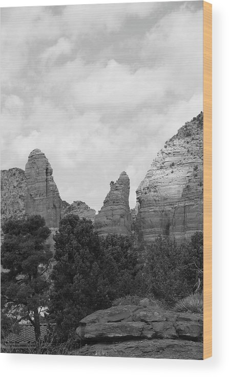 Scenics Wood Print featuring the photograph Arizona Mountain Red Rock Monochrome by Sassy1902