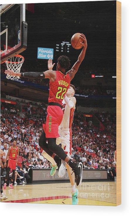 Nba Pro Basketball Wood Print featuring the photograph Atlanta Hawks V Miami Heat by Issac Baldizon