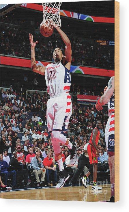 Playoffs Wood Print featuring the photograph Atlanta Hawks V Washington Wizards - by Scott Cunningham