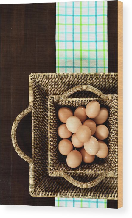 Large Group Of Objects Wood Print featuring the photograph Basket Of Brown Eggs by Joey Celis