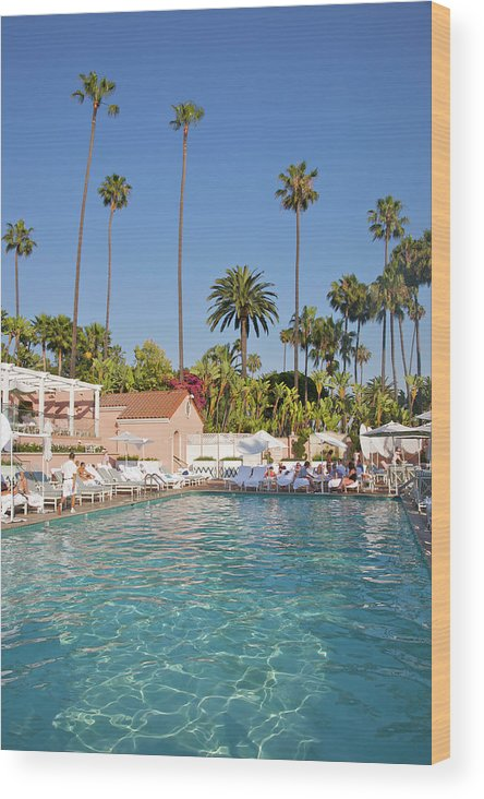 Tranquility Wood Print featuring the photograph Blue-bottomed Pool Beneath Palm Trees by Barry Winiker