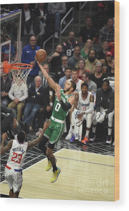 Nba Pro Basketball Wood Print featuring the photograph Boston Celtics V La Clippers by Adam Pantozzi