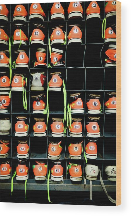 Orange Color Wood Print featuring the photograph Bowling Shoes by Christian Bird